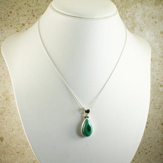 Malachite Teardrop Necklace N-0191-i