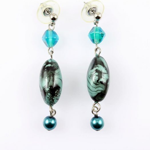 Teal Hand-Painted Pearl Earring E-0204-a
