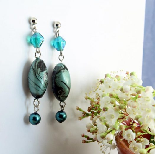 Teal Hand-Painted Pearl Earring E-0204-b