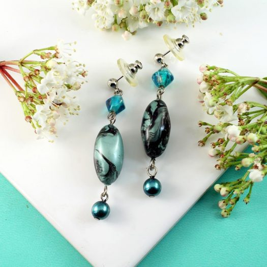 Teal Hand-Painted Pearl Earring E-0204-c