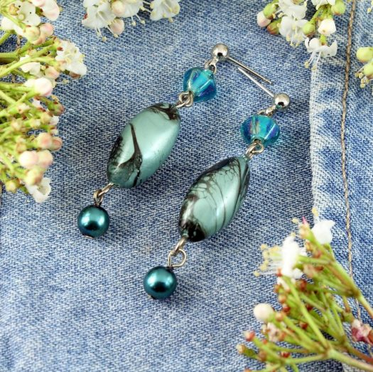 Teal Hand-Painted Pearl Earring E-0204-e