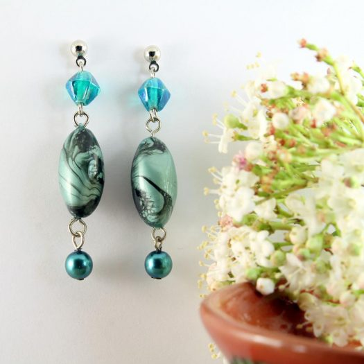 Teal Hand-Painted Pearl Earring E-0204-f