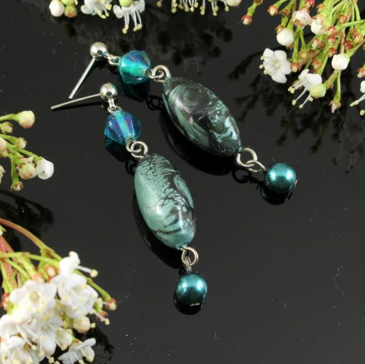Teal Hand-Painted Pearl Earring E-0204-h