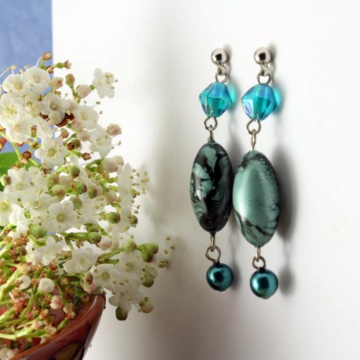 Teal Hand-Painted Pearl Earring E-0204-j