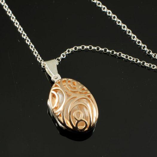 Rose Gold Filigree Locket N-0174-a