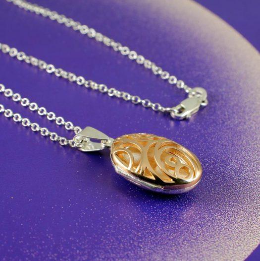 Rose Gold Filigree Locket N-0174-b