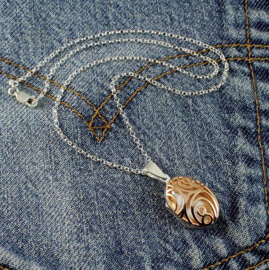 Rose Gold Filigree Locket N-0174-c