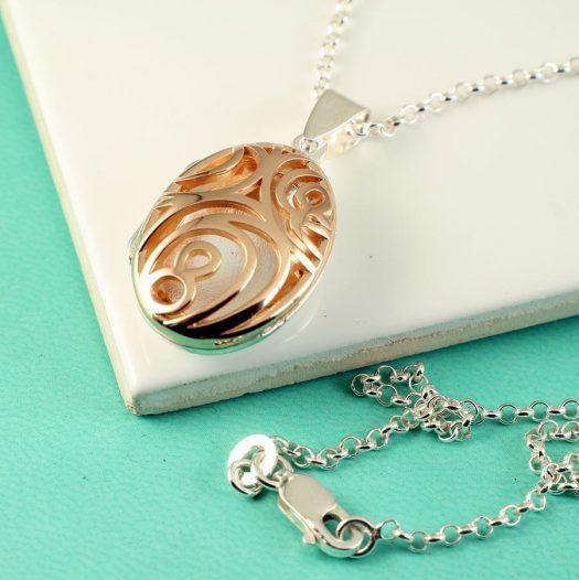 Rose Gold Filigree Locket N-0174-d