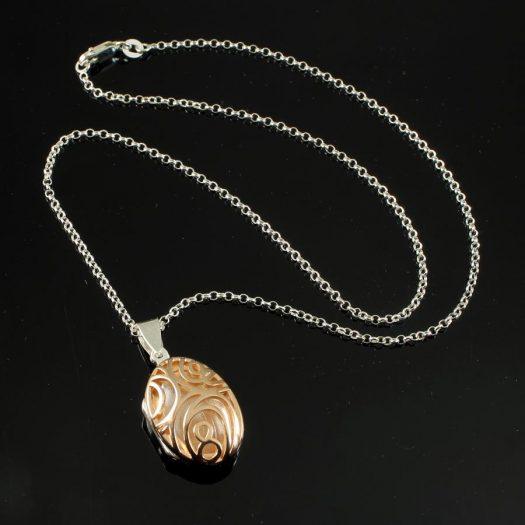 Rose Gold Filigree Locket N-0174-e