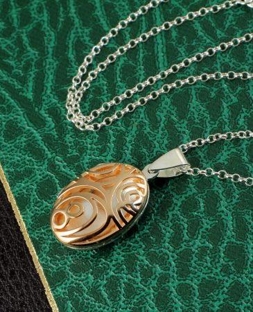 Rose Gold Filigree Locket N-0174-g