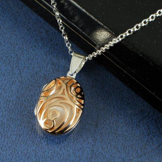 Rose Gold Filigree Locket N-0174-h
