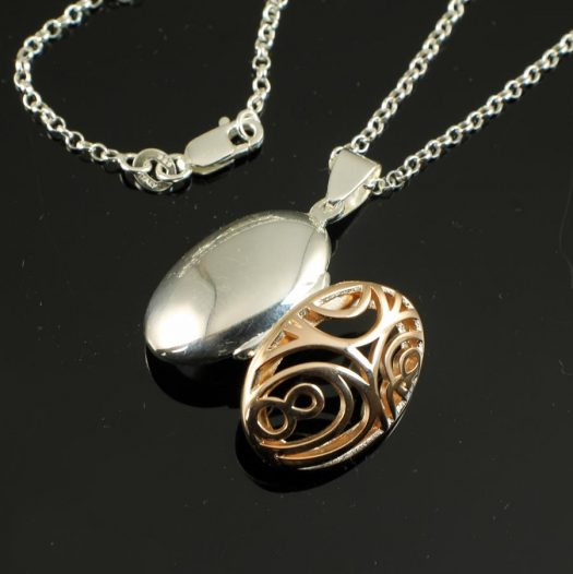 Rose Gold Filigree Locket N-0174-l