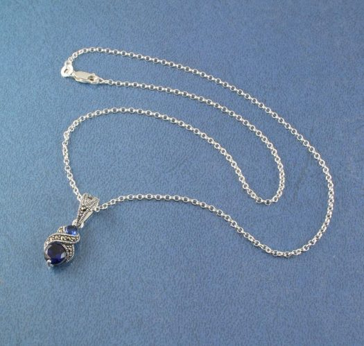 Sapphire Marcasite Necklace N-0117-a
