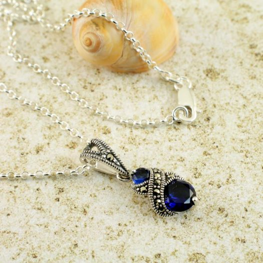 Sapphire Marcasite Necklace N-0117-b