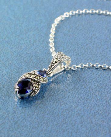 Sapphire Marcasite Necklace N-0117-c
