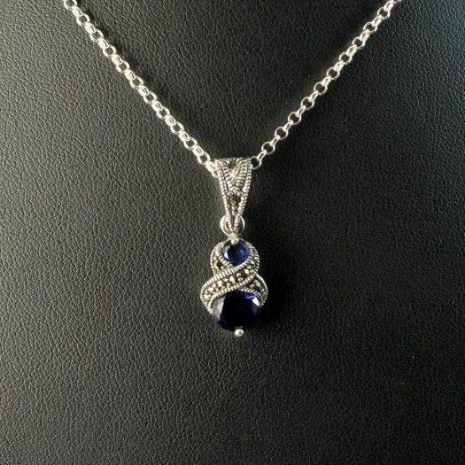 Sapphire Marcasite Necklace N-0117-e