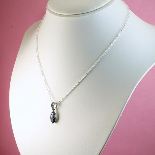 Sapphire Marcasite Necklace N-0117-f