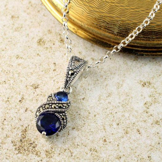 Sapphire Marcasite Necklace N-0117-g