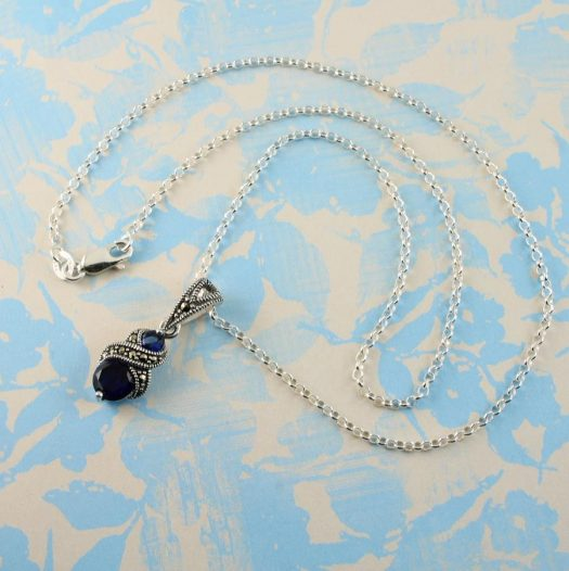 Sapphire Marcasite Necklace N-0117-h
