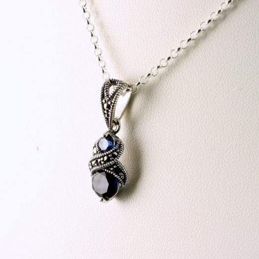 apphire Marcasite Necklace N-0117-j