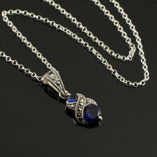 Sapphire Marcasite Necklace N-0117-k