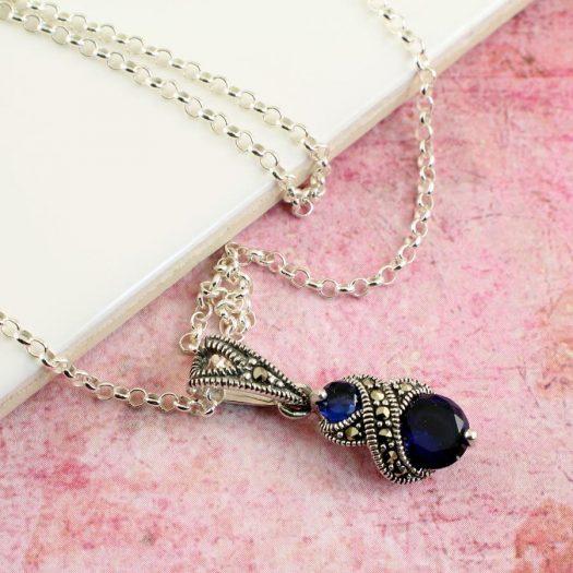 Sapphire Marcasite Necklace N-0117-l